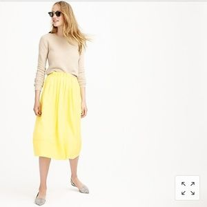 J. Crew yellow midi skirt with pockets and pleats